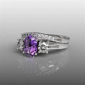 10k white gold engagement ring and wedding band set With purple wedding ring