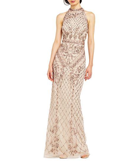 adrianna papell halter beaded column gown dillards