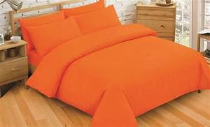 Plain Dyed Bright Orange Colour Bedding Duvet Quilt Cover