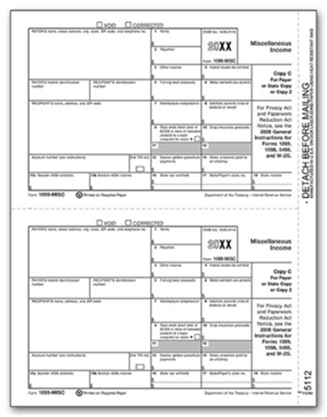 1099 misc laser payer state copy c or 2 for 2018 82628