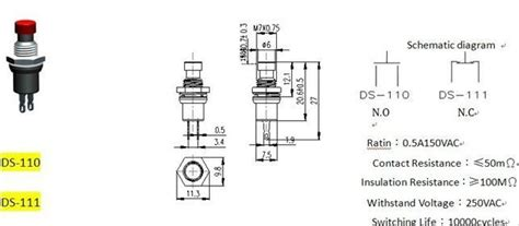 3 Pole Push Button Diagram by Single Pole Metal Pushbutton Switch 3a 125vac Ps 110