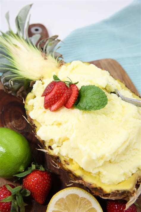 fresh pineapple sorbet recipe  ice cream maker