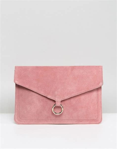 asos asos suede envelope clutch bag  ring detail