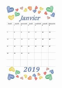 Calendrier Par Mois : calendrier mensuel 2019 mois de janvier calendrier ~ Dallasstarsshop.com Idées de Décoration