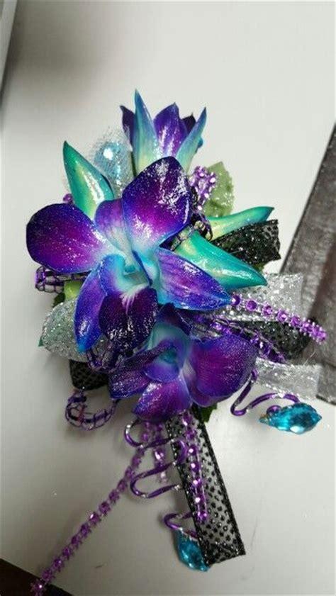 blue bomb orchids  purple  black accents wrist