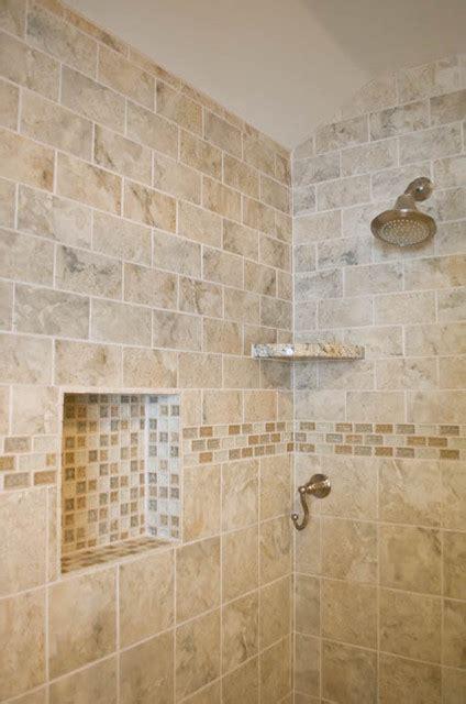 Bathroom Design and Remodel with beige/grey tile