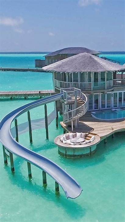 Honeymoon Water Villa Slide Maldives Vacation Travel