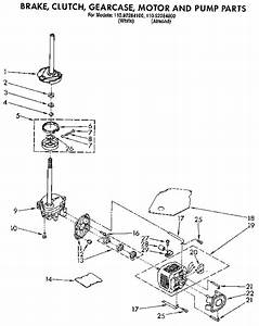 Brake  Clutch  Gearcase  Motor And Pump Diagram  U0026 Parts List For Model 11092284100 Kenmore