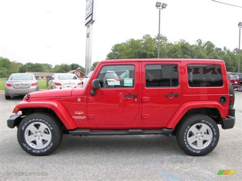 jeep sahara red flame red 2012 jeep wrangler unlimited sahara 4x4 exterior