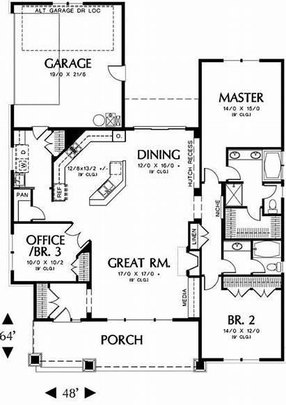 Plans Bedroom Plan Floor Garage Craftsman Sq