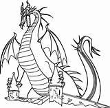 Dragon Coloring Pages Maleficent Cartoon Sleeping Printable Beauty Castle Ladybug Noir Cat Disney Drawing Superwoman Dragons Backyardigans Tasha Smartboard Aurora sketch template