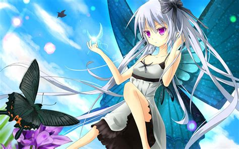 Girl Playing With A Butterfly Hd Anime Wallpapers For