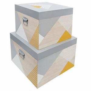 Belle Boite De Rangement : lot de 2 boites de rangement en bois belle journ e gris ~ Farleysfitness.com Idées de Décoration
