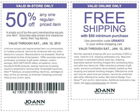 50% Off A Single Item At Jo-ann Fabric Coupon Via The