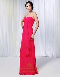 Hot Pink Chiffon Bridesmaid Dress, Chiffon Dress With ...
