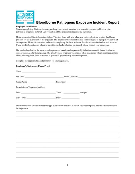 Bloodborne Pathogens Exposure Incident Report Form bloodborne pathogen exposure incident pictures to pin on