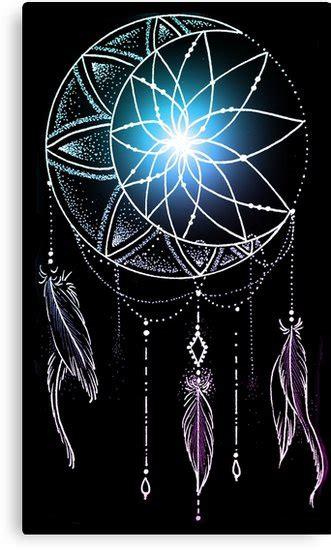 mooncatcher dreamcatcher  crescent moon  beads canvas prints  robineart redbubble