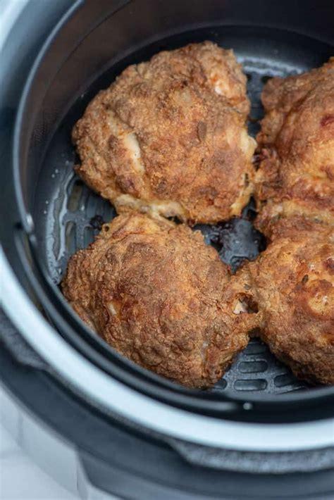 chicken fryer air fried crispy thighs fromvalerieskitchen pieces recipes kitchen bone ninja foodi thigh skinless oven skin valerie tender insert