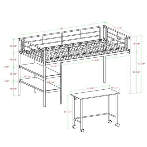 twin metal loft bed with desk walker edison metal twin low loft bed with desk and