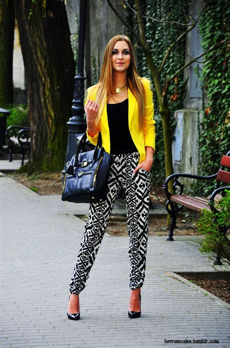 Lovely Yellow Blazer And Printed Pants  Summer Outfits