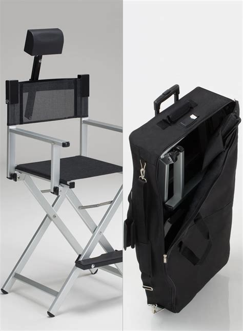 aluminum makeup chair set with headrest and trolley bag
