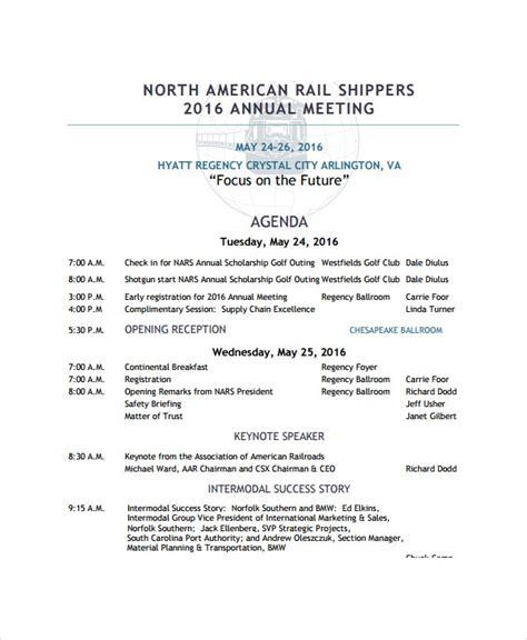 annual meeting agenda template   word