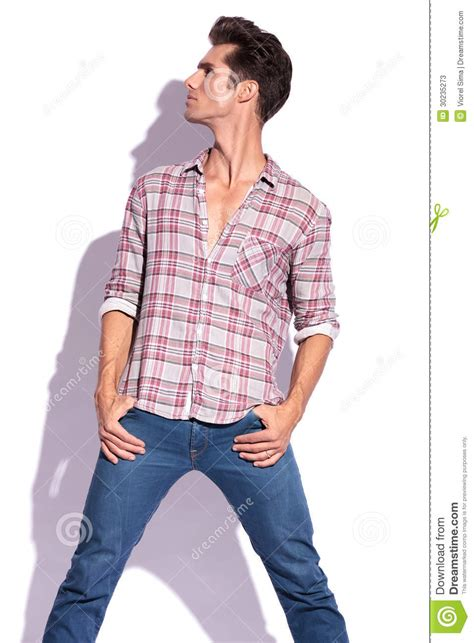 Man With Hands Pockets Looks Away Stock Photos Image