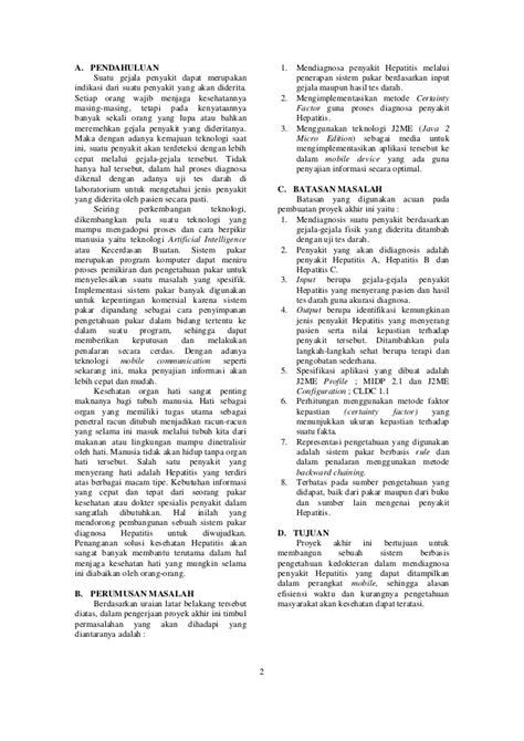 Jurnal sistem pakar penyakit hepatitis dengan menggunakan