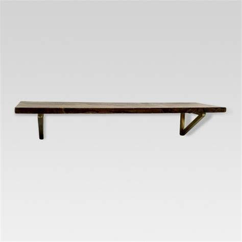 home design essentials wall shelf with polished brass brackets medium