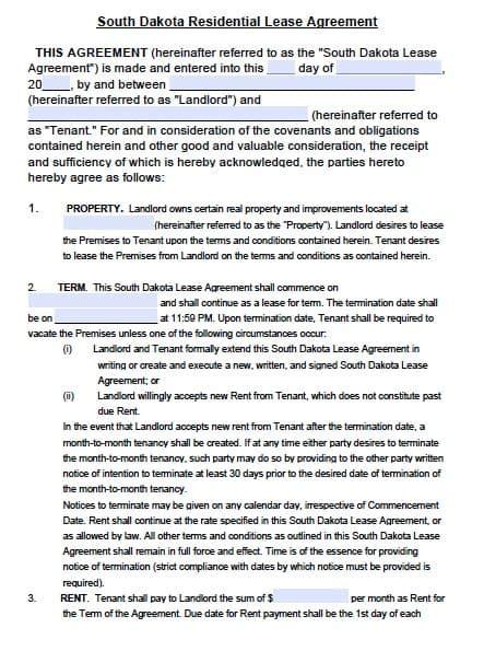 south dakota residential rental agreement form
