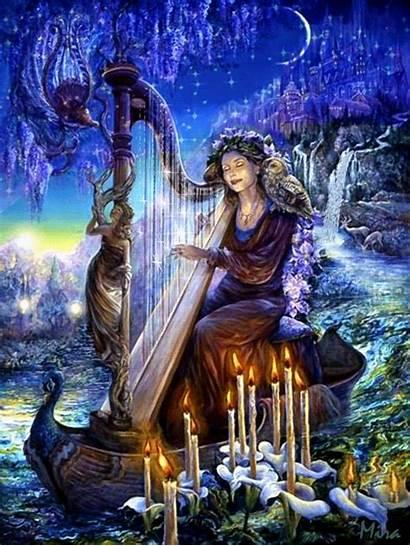 Fantasy Harp Animated Woman Playing Gifs Wall