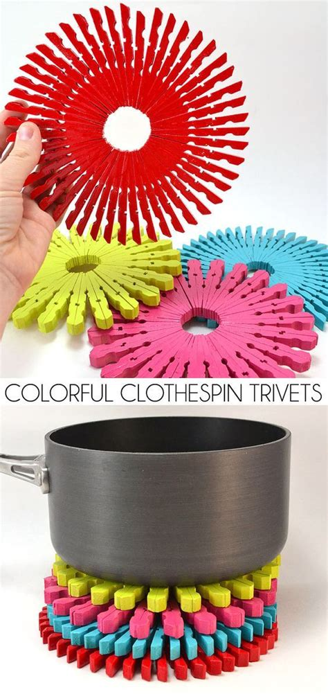 colorful clothespin trivets crafts   sell dollar