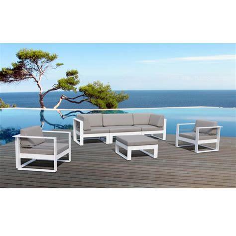 Salon de jardin St Tropez en mu00e9tal et tissu 5 places