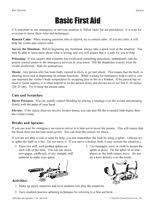 First-Aid-Worksheet burns | First aid unit study info for
