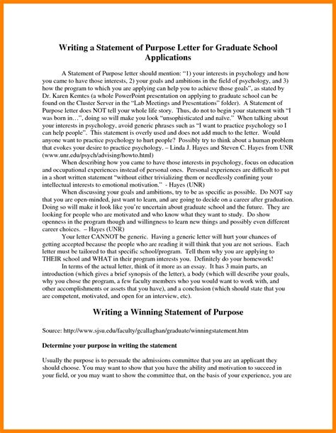 Statement Of Purpose For Resume by 7 Grad School Statement Of Purpose Sle Fancy Resume