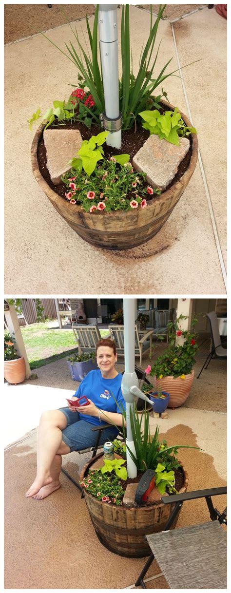 planter umbrella stand backyard landscaping outdoor