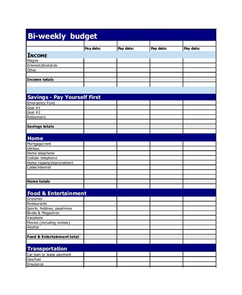 budget planner templates   printable word excel