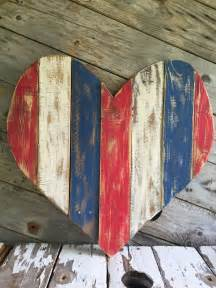 red white blue pallet heart reclaimed wood blue
