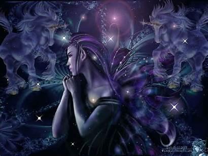 Fairy Dark Backgrounds Fantasy Wallpapers Fairies Unicorn