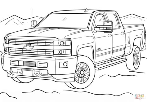chevrolet silverado hd high country coloring page  printable coloring pages