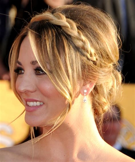 kaley cuoco formal long straight updo hairstyle ash
