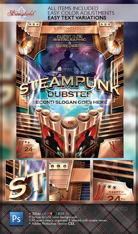 steampunk dubstep event flyer template graphicriver