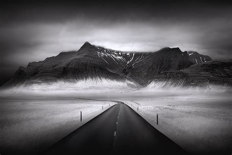 iceland black  white photography infrared long