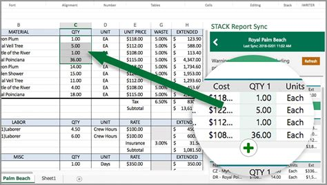 stack report sync construction estimate template  excel