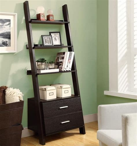 ladder bookcase  storage drawers  bookcases