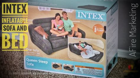 intex pull  sofa inflatable queen bed review demo youtube