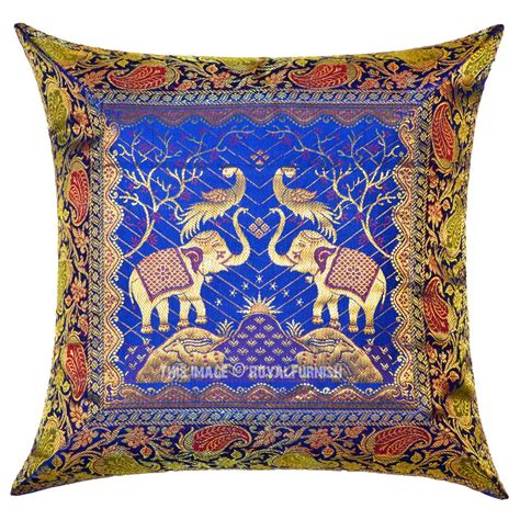Silk Decorative Pillows by Blue Two Elephants And Birds Featuring Decorative Silk