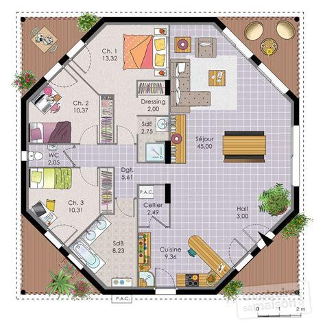 comment dessiner sa chambre maison octogonale dé du plan de maison octogonale