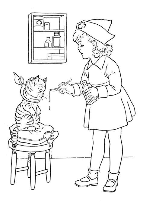 kids vintage printable coloring page lil nurse  graphics fairy