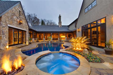 shaped house plans  pool     happier house plans